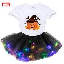 Вечерние платья для детей девочек костюмы на Хэллоуин футболка