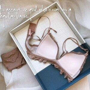 Image 5 - 三角カップシームレスファッション Bralette 女性ワイヤレス薄手のコットン通気性快適な下着ソリッドカラーのランジェリーセット