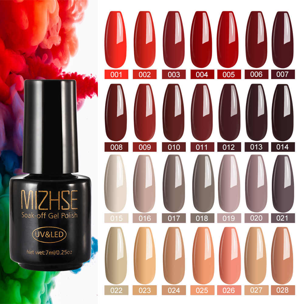 Mizhse 7 Ml Nagels Polish Kleuren Uv Nail Gel Polish Lak Top Base Coat Langdurige Nail Hybrid Permanente Gel nail Led Lamp