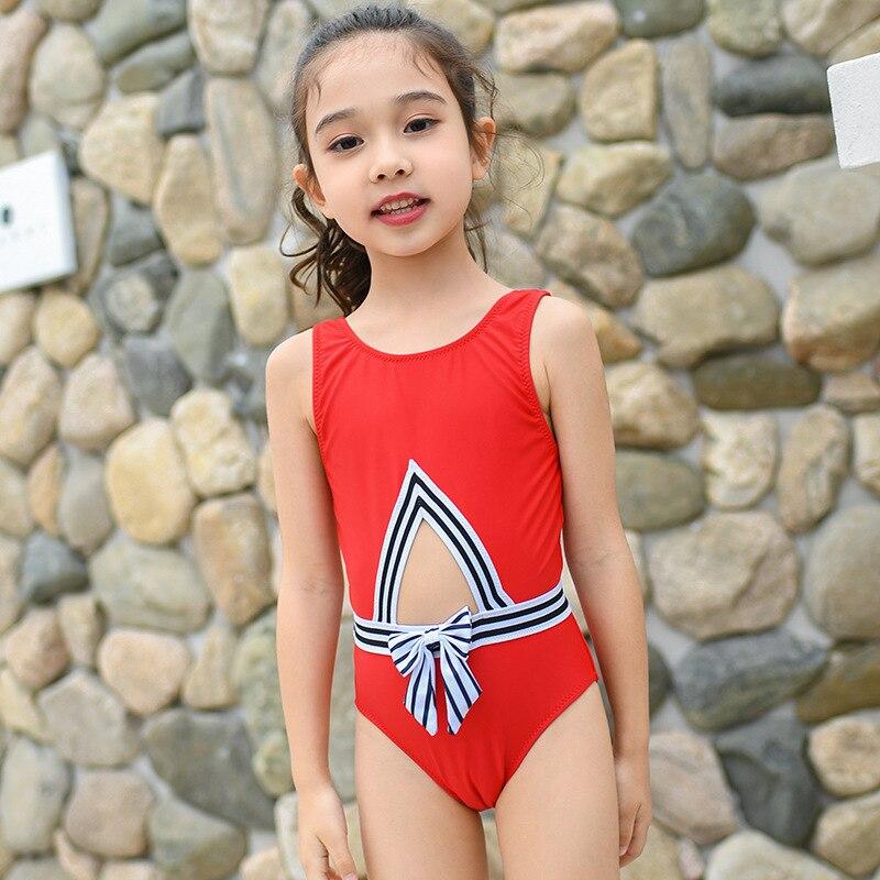 One-piece Swimsuit For Children Girls Baby Big Boy Cute Bow Sports Swimwear Multi-Code Hot Springs Swimwear