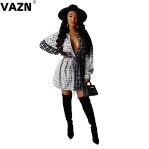 VAZN T-Shirt Dress Buttons White-Black Plaid Full-Sleeve Sexy Lady Summer Chic Sashes