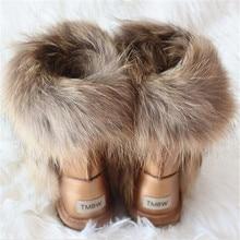 Nowe 2020 wodoodporne skórzane futra lisa damskie zimowe buty śniegowe damskie buty skórzane naturalne modne buty w połowie rury ciepłe buty na śnieg