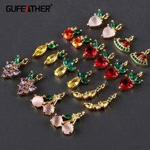 Gufeather m970, acessórios de jóias, 18k banhado a ouro, zircão, metal de cobre, encantos, feitos à mão, brincos diy, fazer jóias, 6 pçs/lote