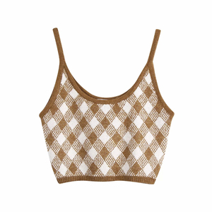 Vintage Stylish Brown Argyle Patterns Camis Tops Women Sexy Fashion Straps Tops Female Chic Camisole