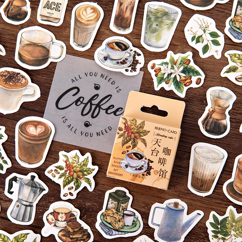 46PCS/PACK Retro Coffee Plant Sticker Scrapbooking Stickers Marker Diary DIY Decorate School Stationery Bullet Journal Sl2130