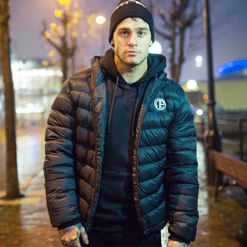 Winter Men's Hooded Sports Parka Black Warm Running Coat Thick Bodybuilding Jacket New Brand Fashionable Outwears Plus Size 2xl