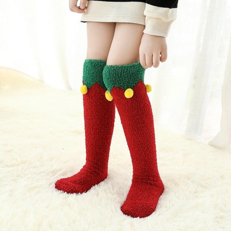 Christmas Toddler Baby Kids Boy Girls Socks Autumn Winter Knee Socks Girl Coral Fleece Sock Cute Cartoon Children Long Tube Sock