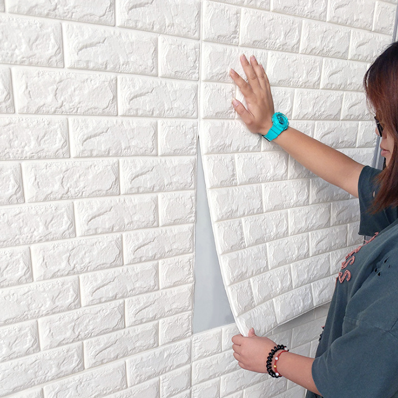 YUNAO013-Brick wallpaper 3d wall stickers anti-collision self-adhesive wall <font><b>skirt</b></font> waterproof sticky notes thick 70x77cm image