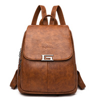 2019 New Luxury Soft Leather Women Backpack High Quality Simple G Letter school bags for teenage girls Large Capacity Travel Bag