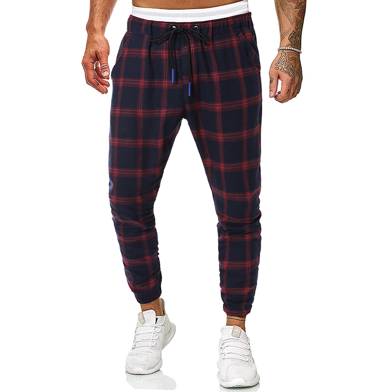 Casual Trousers Harlan Cotton-Color Winter Fashion New And Autumn Plaid Series Elastic