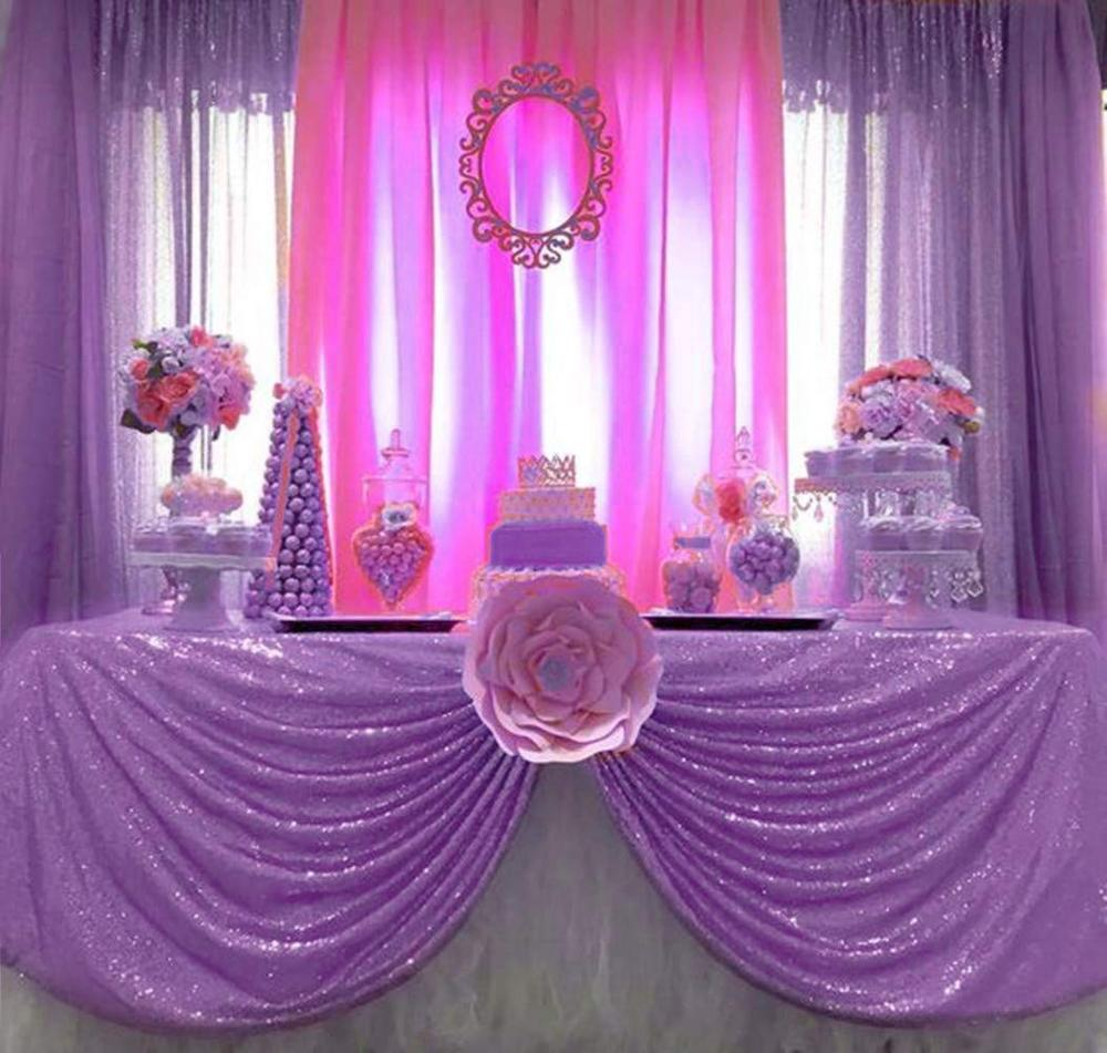 Lavender Sequin Tablecloth Lilac Wedding Party Sequin Tablecloths Classy And Elegant Table Cloth For Romantic Event/Banquet