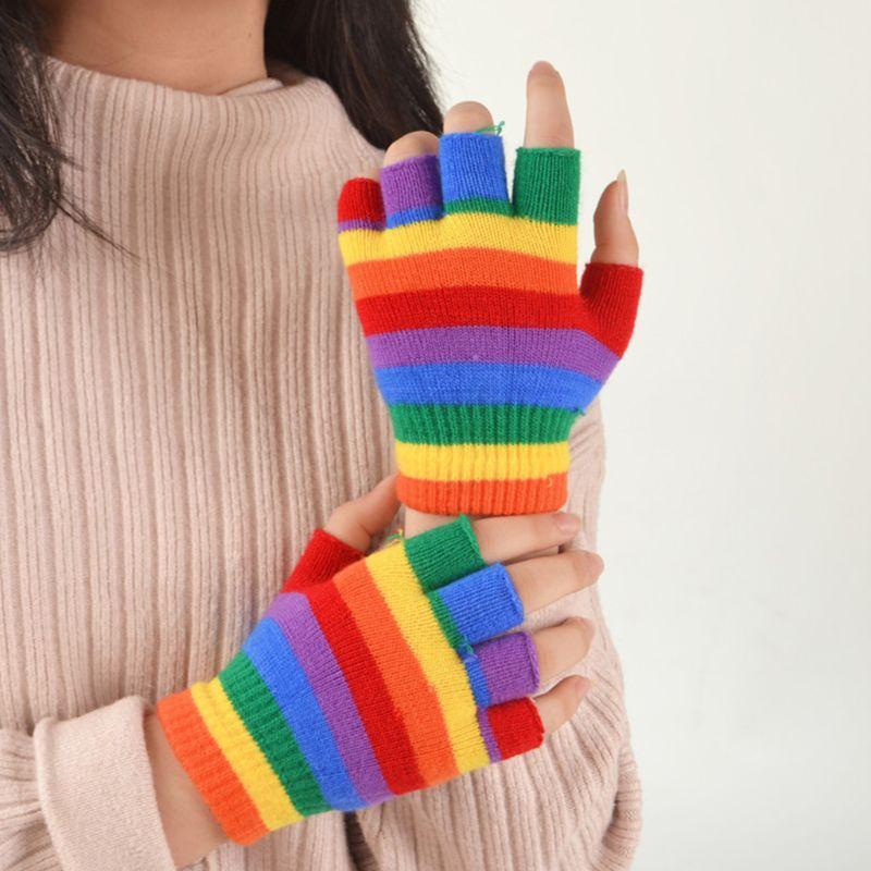 Adult Kids Rainbow Stripes Short Gloves Fingerless Wrist Length Party Mittens C6UD