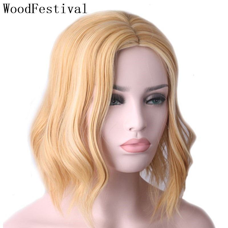 WoodFestival Wavy Synthetic Hair Color Mix Blonde Short Wig Cosplay Heat Resistant Wigs For Women