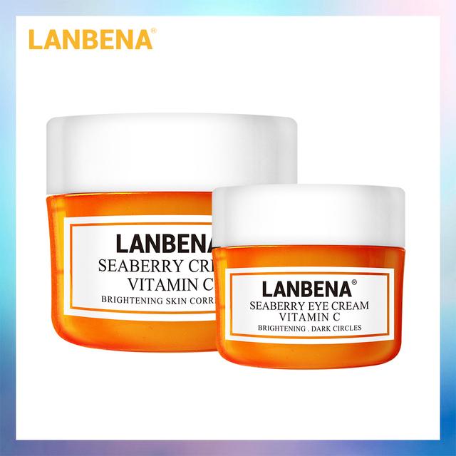 LANBENA Buy 2PCS Vitamin C Face Cream Get 1 Free Eye Cream Moisturizing Anti Aging Whitening Fade Dark Spots Skin Care