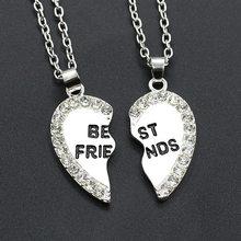 Amor inglês pingente liga item moda duas peças de cristal melhor amigos colar para jóias femininas atacado