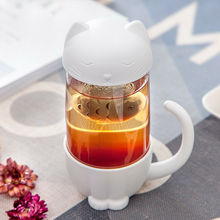 New Tea Strainer Cute Cat Glass Cup Tea Mug With Fish Infuser Strainer Filter Home Offices Gift Cup Bottle  Strainer Filter Home