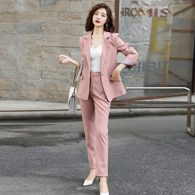 Casual Professional Women's Pants Suit 2019 Autumn New Slim Pink Jacket Blazer Fashion Office High Waist Trousers Two-piece Suit
