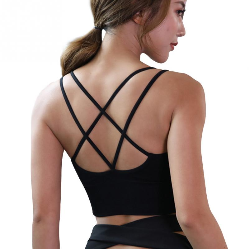 Women Sexy Black Wire Free Indoor Padded Fashion Gym Sports Style Bra Sexy Casual Cross Back