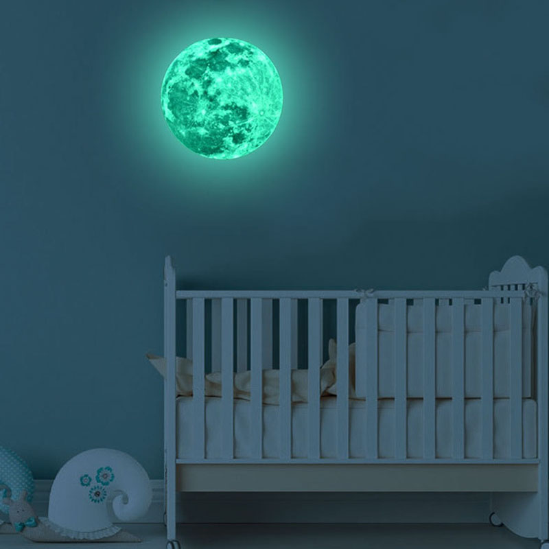 30cm Wall Stickers For Kids Rooms Decor Luminous DIY 3D Moon Earth  2019 New Glow In The Dark Wall Decor Room Decoration