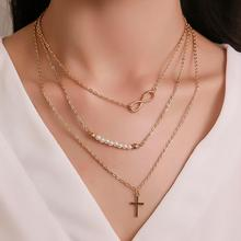 2019 Hot Multilayer Necklace Bohemian Cool style 8 Word Cross small Beads Crystal Chokers Necklaces For Women Fashion Jewelry недорого