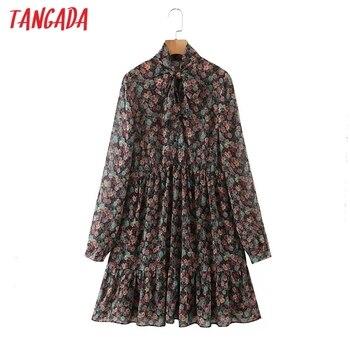 Tangada-vestido de gasa con estampado de flores para mujer, vestido elegante con lazo y manga larga para otoño SL602, 2020