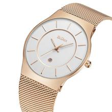 BIDEN Male Watches Fashion Relogio Masculino Simplicity Modern Quartz Wrist Watch Auto Date Rose Golden Mesh Slim Stainless Steel Band Relojes Hombre Outdoor Casual Unisex Couple Watch paidu full steel watch women dress watch hour clock mens mesh wire fashion casual watch unisex quartz wristwatch relogio relojes