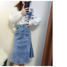 Women Fashion Autumn Winter Denim Skirt 2-Piece Sets 3D Flowers Beaded Sweater+High Waist Jeans A-Line Skirts Female Outfits(China)