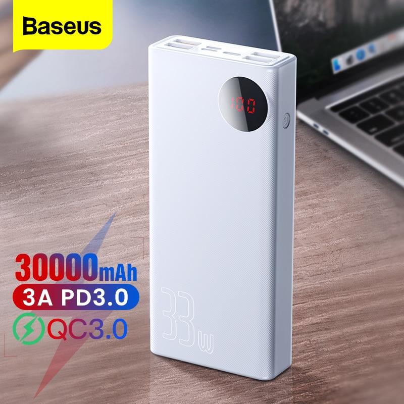 Chargeur rapide portatif de batterie externe du chargeur 30000 mAh dusb de batterie de puissance de Baseus 30000 mAh pour liphone 12 Pro Max Xiaomi