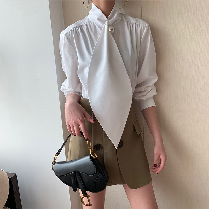 2019 Spring and Autumn New Shirt White Shirt Pearl Scarf Neck Long Sleeve Fashion Full Women Shirts Blouse in Blouses amp Shirts from Women 39 s Clothing
