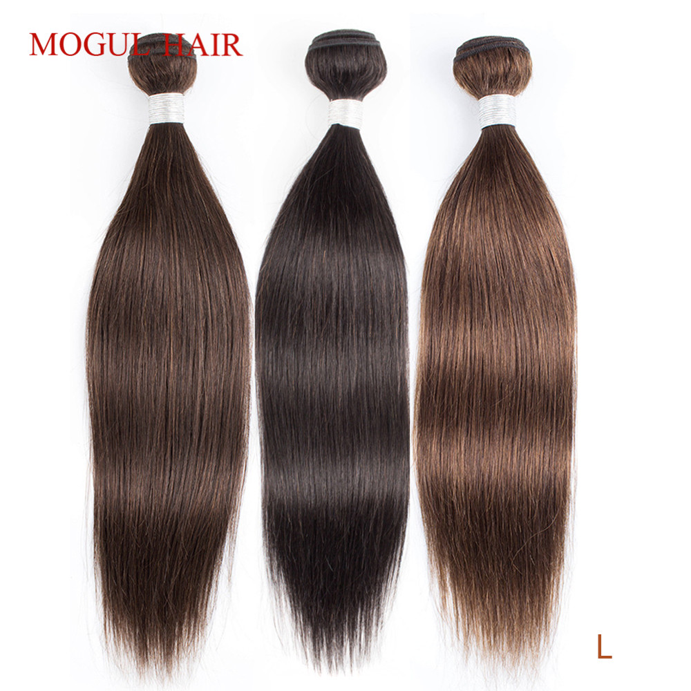Mogul Hair Indian Hair Weave Bundles Straight Bundles Color 4 Chocolate Brown Black Remy Human Hair Extension 10-26 Inch