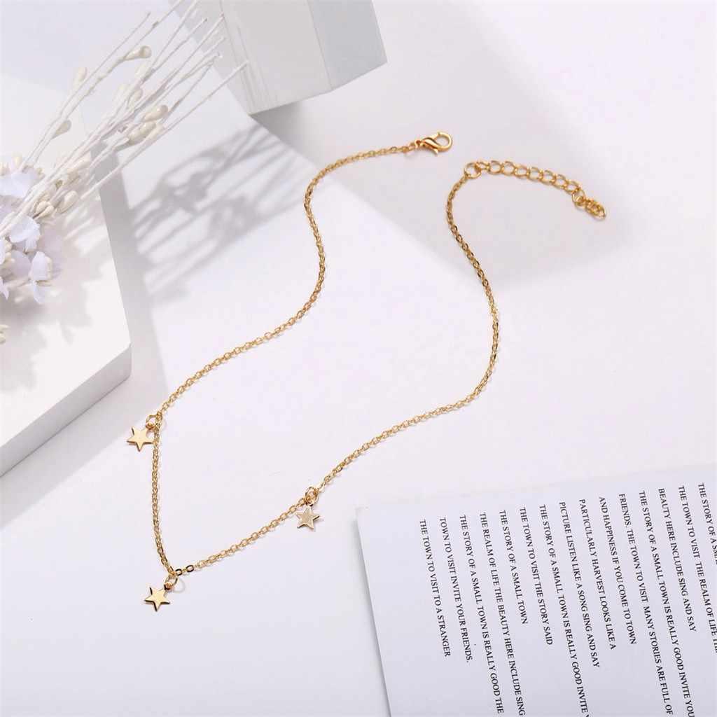 قلادة قلادة للنساء بسيط سبائك الذهب ثلاث نجوم سلسلة طويلة قلادة روز زهرة طوق مجوهرات نسائية 2019 بالجملة