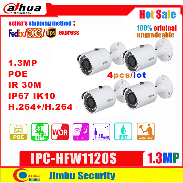 Dahua câmera ip 1.3mp IPC HFW1120S poe ir30m h.264 + ip67 à prova dip67 água inglês firmware pode ser atualizado câmera bala cctv