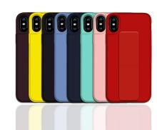 For iPhone 7 Plus 8 X XS MAX XR Fashion Solid Color Phone Cases 6S Soft TPU Stand Holder Back Cover