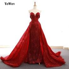 שרוולים שמלת ערב ארוך 2020 בת ים נצנצים מפלגה לנשף בורגונדי כותנות Robe דה Soiree תחרה עד פורמליות נשים שמלת Yewen