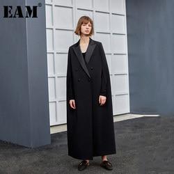 Женский плащ EAM, черный Свободный плащ большого размера с длинным рукавом и отложным воротником, весенне-Осенняя мода 2020 1H099