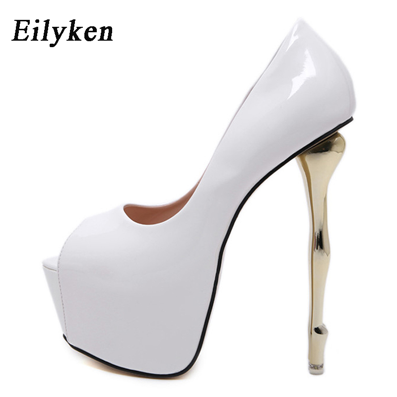 Eilyken Sexy White Red Black Platform Pumps Women Ultra High Stiletto Heels 16CM Shoes Peep Toe Party Wedding Bride Shoes