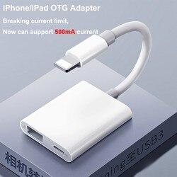 Não precisa adaptador OTG IOS13 APP Para iPhone 11 500mA XR X XS Max 8/7 Iluminação para USB Suporte U disco/teclado/Câmera Digital