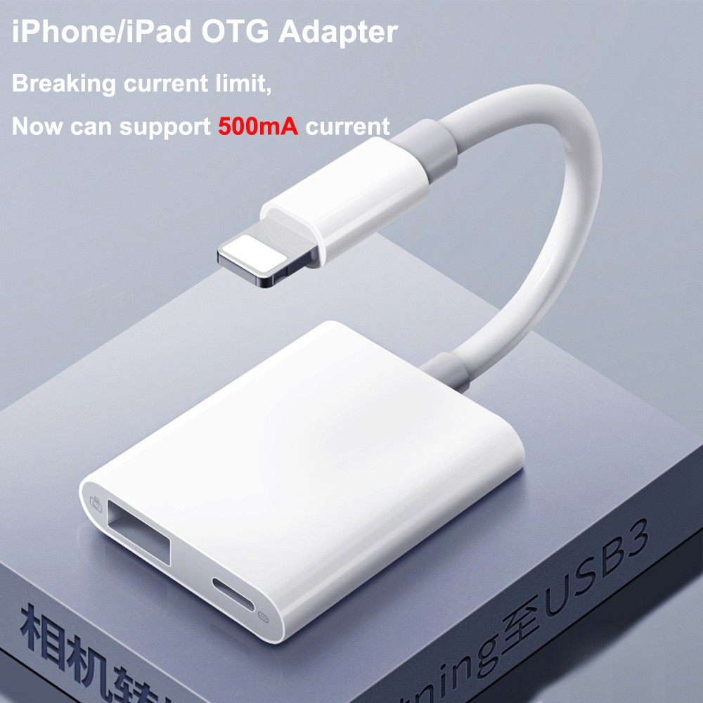 Needn't APP IOS13 OTG <font><b>adapter</b></font> For <font><b>iPhone</b></font> 11 XR X XS Max 8/<font><b>7</b></font> Lighting to USB 500mA Support U Disk / keyboard / Digital Camera image