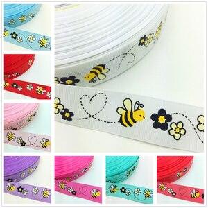 Новые DIY 5 ярдов 1 ''25 мм Маленькая пчела Печать Grosgrain ленты волосы лук Вечерние ремесла