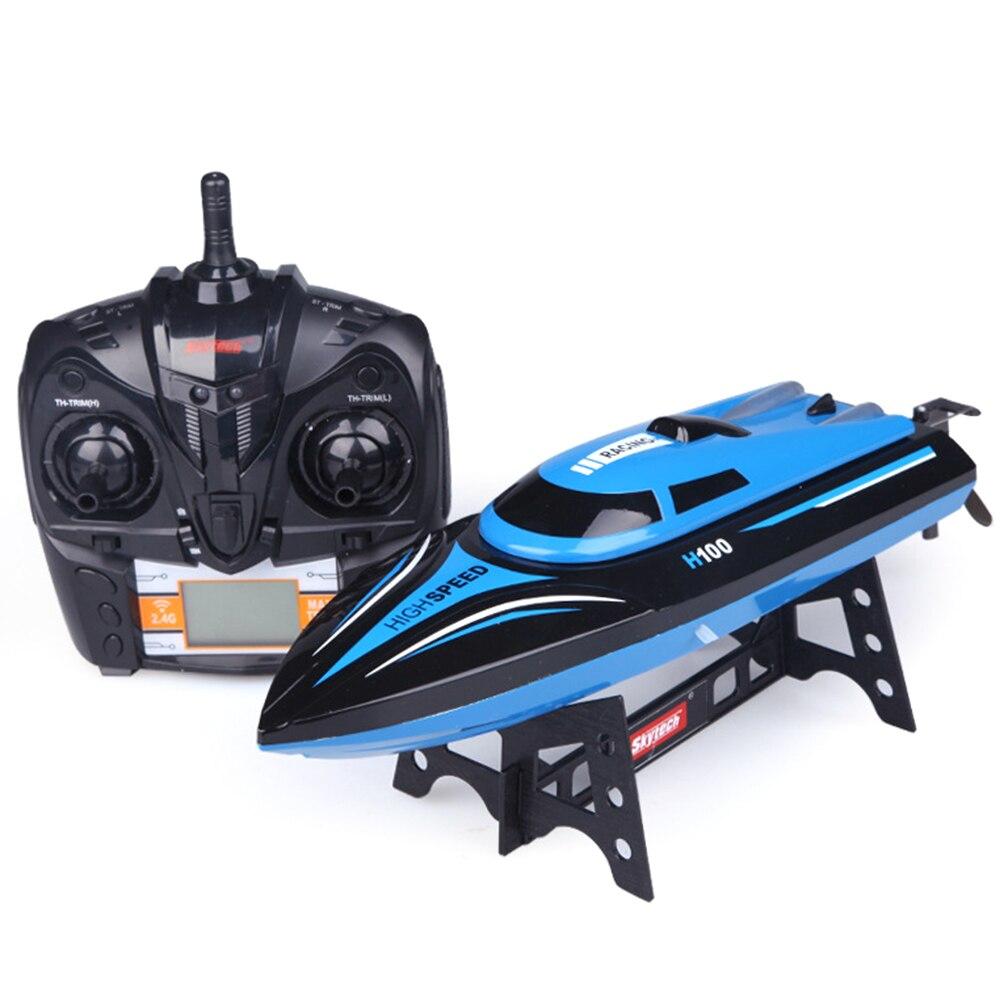 H100 ABS cadeau électrique Overwater enfants haute vitesse course hors-bord forme bateau RC avec écran LCD jouet 4 canaux opération facile