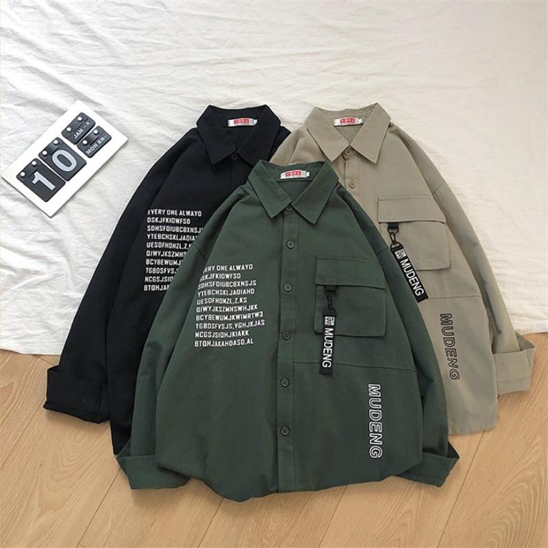 Cotton Letter Print Men Shirt Large Size Long Sleeve Camisa Masculina Loose Fashion Pocket Shirts Spring Mens Overshirt LH1019
