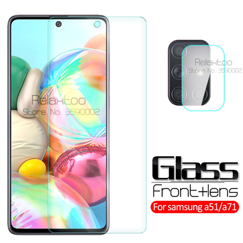 2-in-1 Camera Tempered Glass For Samsung Galaxy A51 2019 Screen Protector Sumsung A71 A 51 71 A515F A715F Protective Glass Film