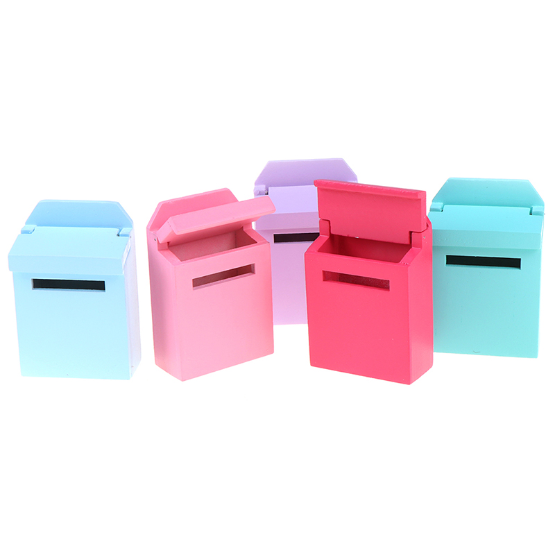 1Pc 1/12 Scale Wooden Mailbox With Decal Doll House Miniature For Fairy Garden Door Decor Kids Furniture Toys 6 Colors