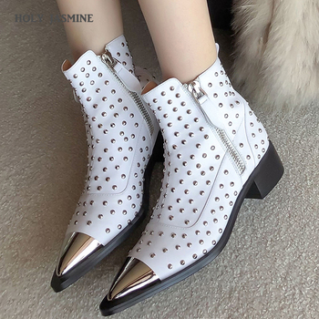 Autumn New Genuine Leather Ankle Boots Women Pointed Toe Rivet Boots Motorcycle Studded Botines Women Luxury Chelsea Botas Mujer heinrich hot sale new fashion luxury men slip on boots men brand male chelsea ankle boots botas militares botas de combate