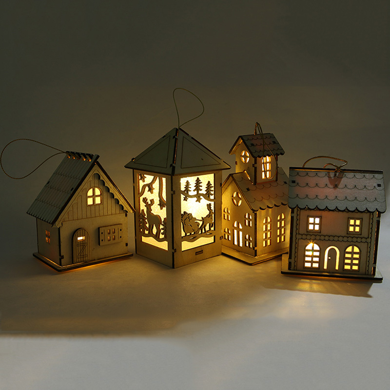 1PC Festival DIY LED Light Luminous Wood House Christmas Tree Glow In The Dark Hanging Holiday Nice Xmas Gifts Kid Toys