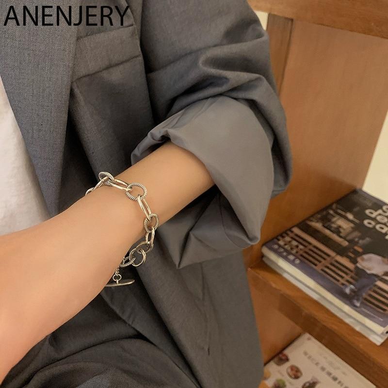 ANENJERY 925 Sterling Silber Thai Silber Armband für Frauen Männer Geometrische Verriegelung Kreis Armband Schmuck Geschenke S-B481