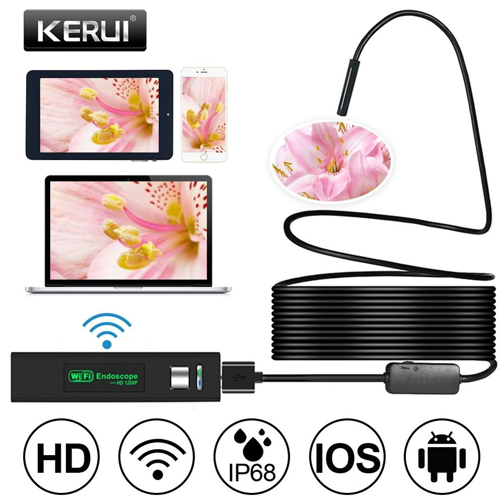KERUI WIFI Mini Endoscope Camera HD 1200P IP68 Waterproof Hard Cable Borescope USB Endoscope For IOS Android Smartphone Car PC