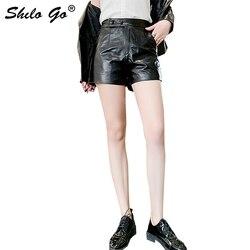 Streetwear Lederen Shorts Vrouwen Beknopte Knop Hoge Taille Schapenvacht Lederen Straight Shorts Causale Vrouwelijke Hot Shorts