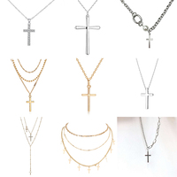 Women Collars Cross Pendant Necklaces Crystal Charm Multilayers Necklace Harajuku Fashion Jewelry for Women Birthday Party Gift