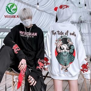 Image 4 - 2019 Thu Đông Phong Cách Nhật Bản Ca Sĩ Khoai Môn Hoa Áo Hoodie Nam Nữ Hip Hop Lớn Cotton Retro Thời Trang Áo